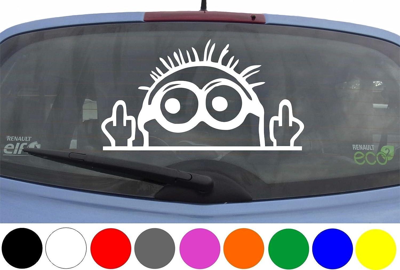 Wdesigns Autoaufkleber Minion Stinkefinger Tuning Aufkleber Sticker Decal Heckscheibe Auto