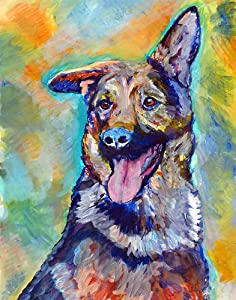 German Shepherd Wall Art Print, Colorful GSD Artwork, Dog Owner Gift, Dog Memorial Gift, Abstract Painting Nursery Decor, Hand Signed By Pet Portrait Artist Choice Of Sizes 8x10, 11x14, 12x16