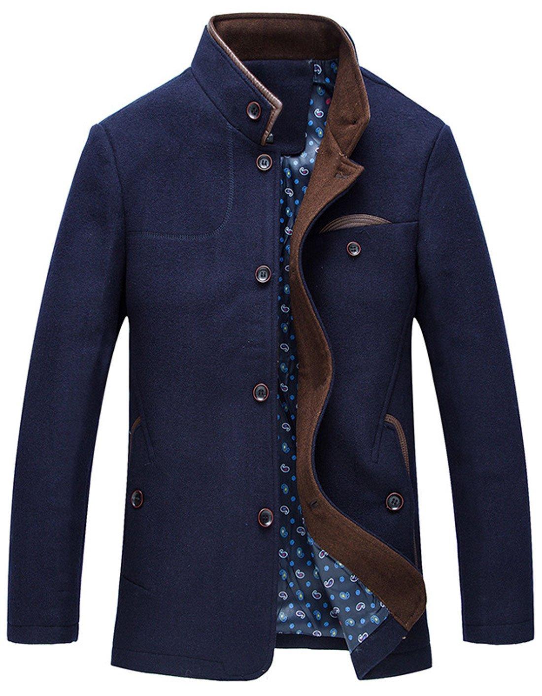 chouyatou Men's Gentle Band Collar Single Breasted Wool Blend Pea Coat (NavyBlue, Large) by chouyatou