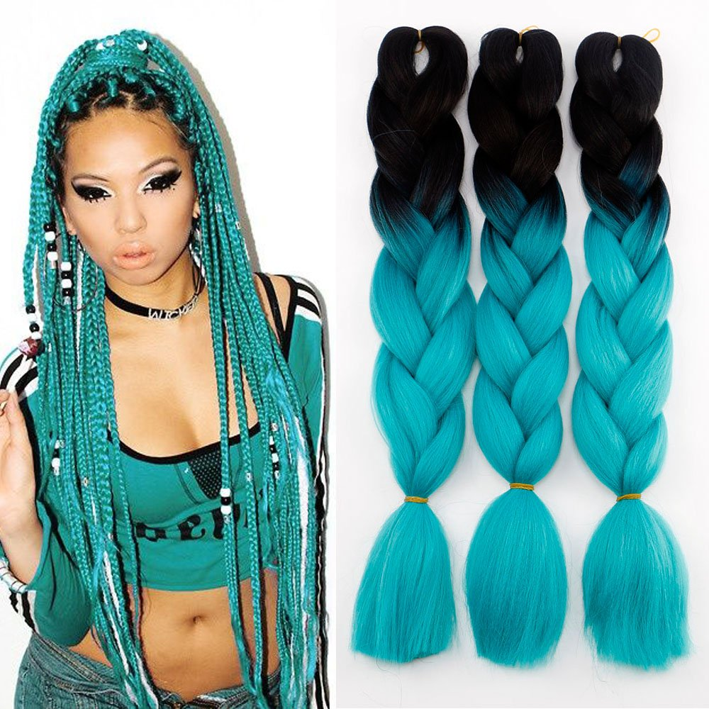 3Pcs/Lot Ombre Kanekalon Braiding Hair Extensions 24'' 100g/pcs Synthetic Hair Extensions (Black and Cyan) by Lisshow