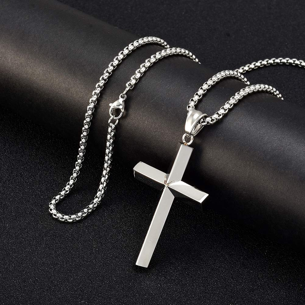 W/W Lifetime Cross Necklace for Women Ashes Urn Memorial Perfume Pendant Necklace High Plated Stainless Steel Cremation Jewelry Box Chain of 24inches (Silver)