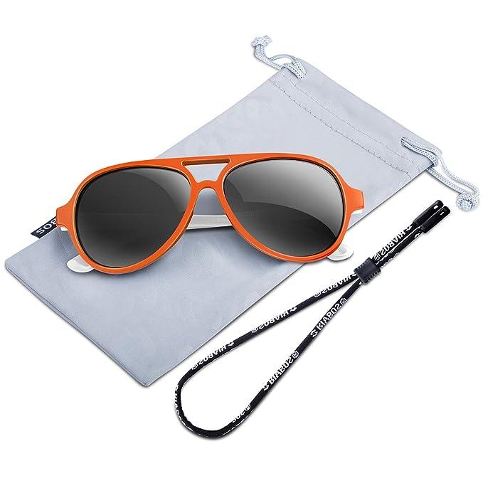 RIVBOS RBK001 UV400 Gafas de Sol Infantiles TR90 Polarizadas Para Goma Flexible Wayfarer para Niñas y