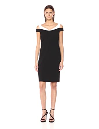 Calvin Klein Womens Cold Shoulder Sweater Heart Sheath Dress, Black/White, ...