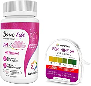 NutraBlast Boric Acid Suppositories 600mg (30 Count) w/Feminine pH Test Strips 3.0-5.5 (100 Tests Roll) | Monitor Vaginal Intimate Health & Prevent Infections | Accurate Women's Acidity & Alkalinity
