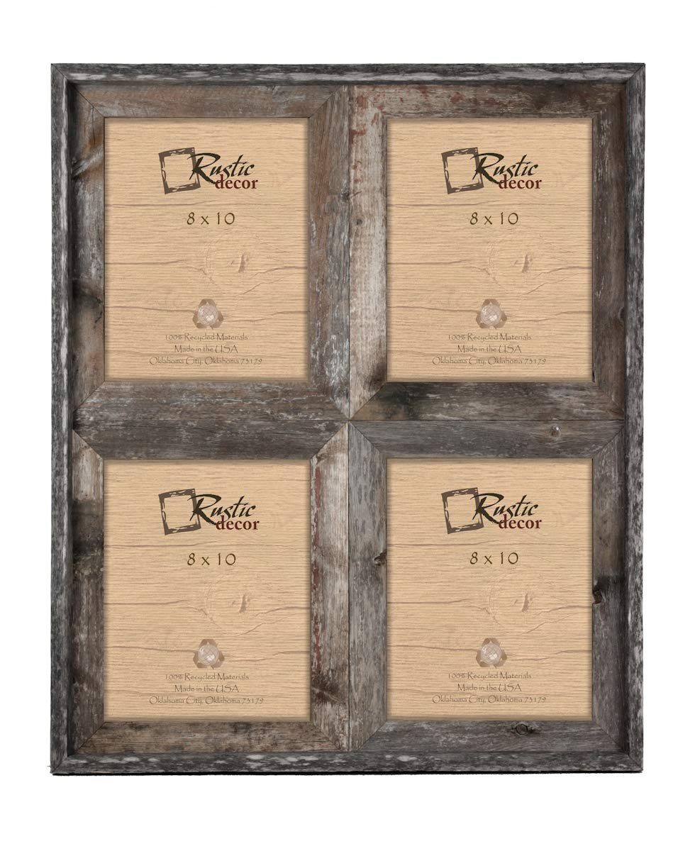 8x10 - 2.5'' Wide Reclaimed Rustic Barnwood Collage Photo Frame - Holds 4 Photos by Rustic Decor