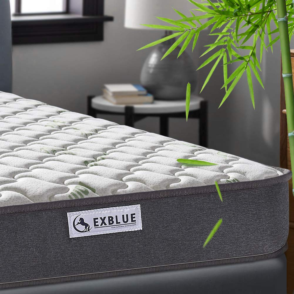 Grey 3FT Single (90 x 190 x 22cm) Single Bamboo Fiber Mattress, 3FT Single Pocket Sprung and Memory Foam Mattress Pressure Relief with 9-Zone Support System - 100 Nights Trial