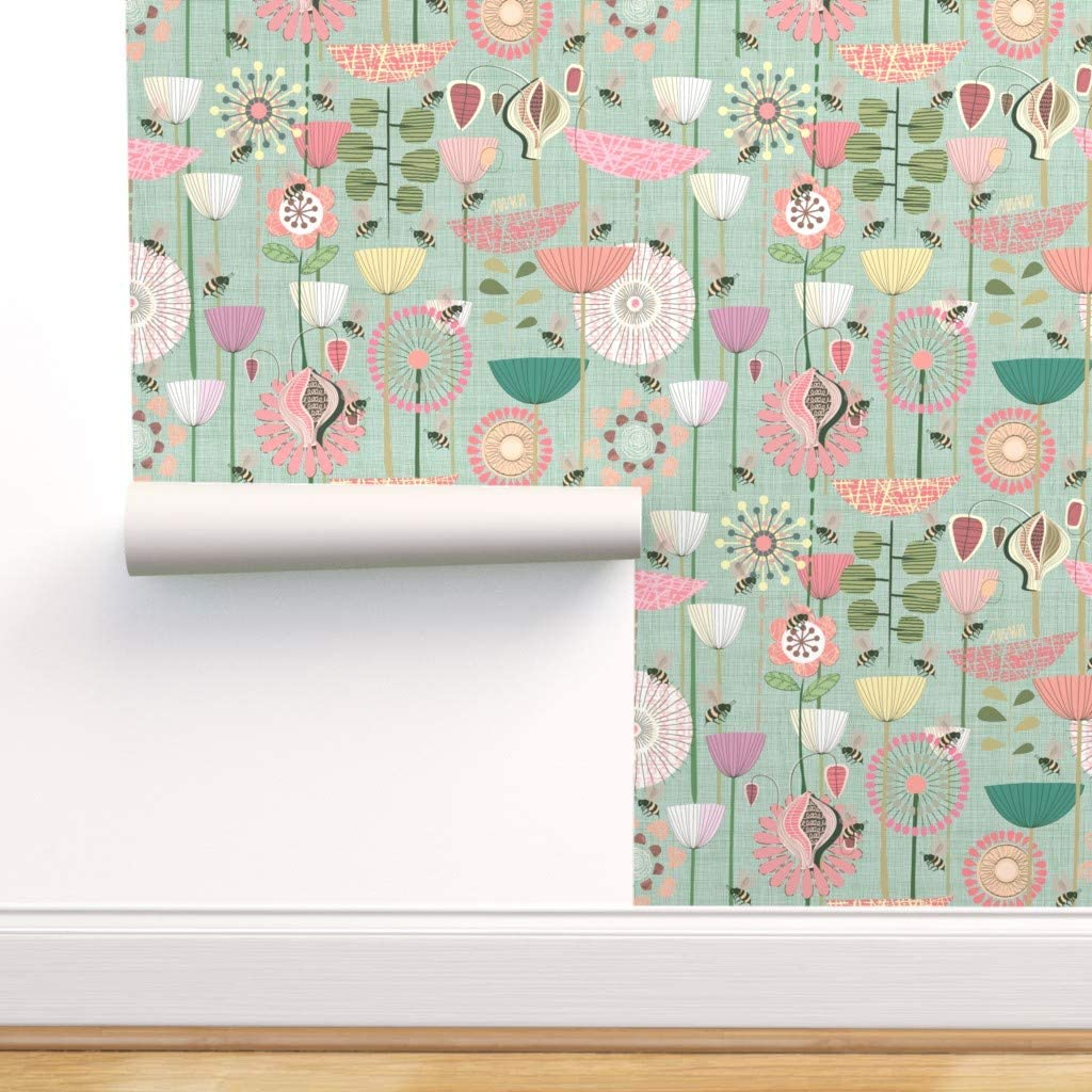 Spoonflower Peel and Stick Removable Wallpaper, Floral Retro Mid Century Modern Decor Green Flowers Atomic Pastel Midcentury Garden Print, Self-Adhesive Wallpaper 24in x 108in Roll