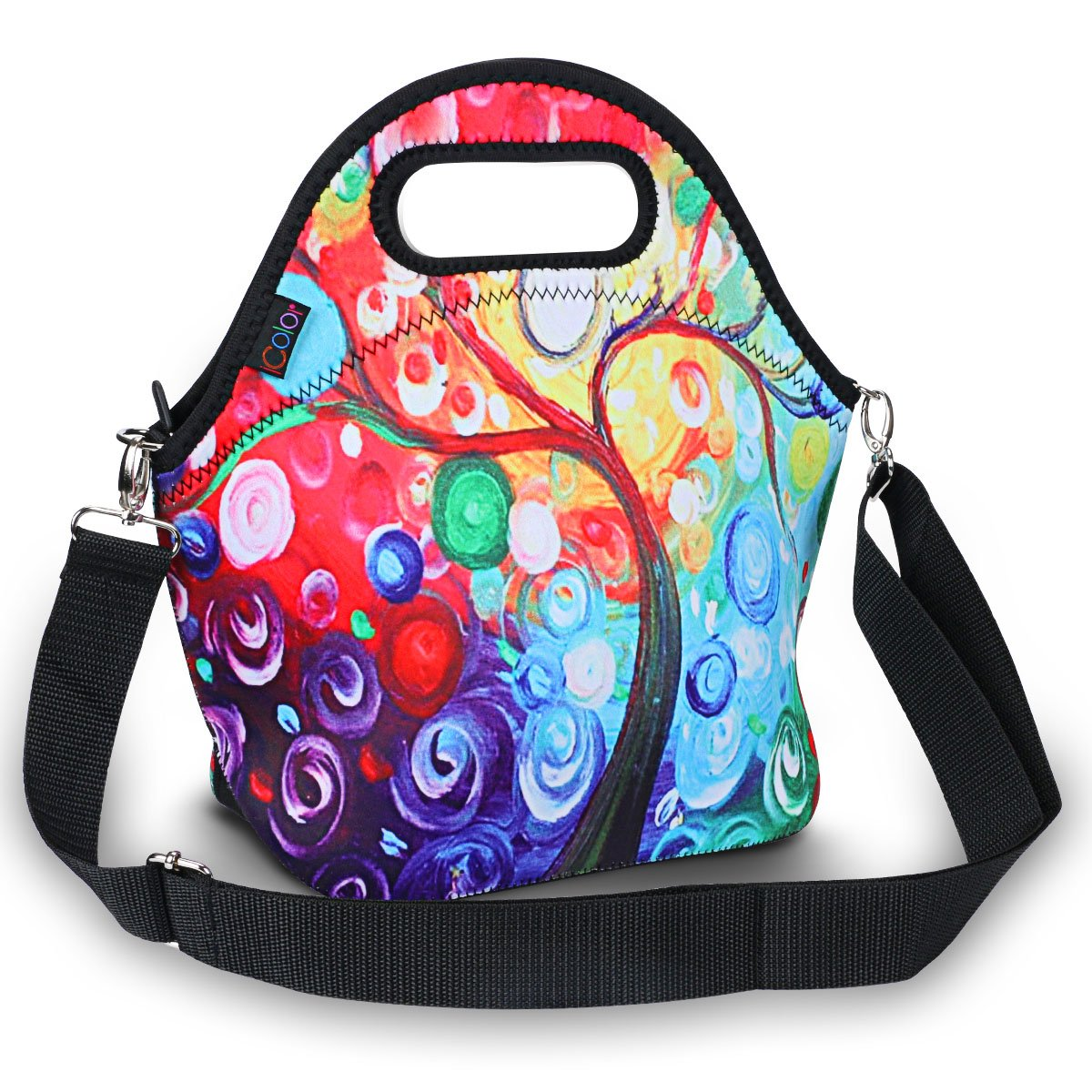 ICOLOR Insulated Neoprene Lunch Bag - Removable Shoulder Strap - Large Size Reusable Thermal Thick Lunch Tote Bags For Women,Teens,Girls,Kids,Baby,Adults-Lunch Boxes For Outdoors,Work, Office, School