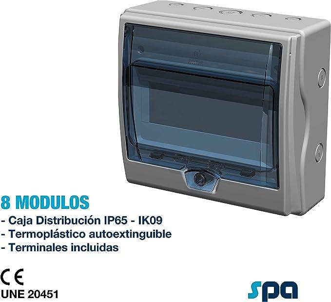 Caja de distribución IP65, con terminales (8+1 Módulos): Amazon.es ...