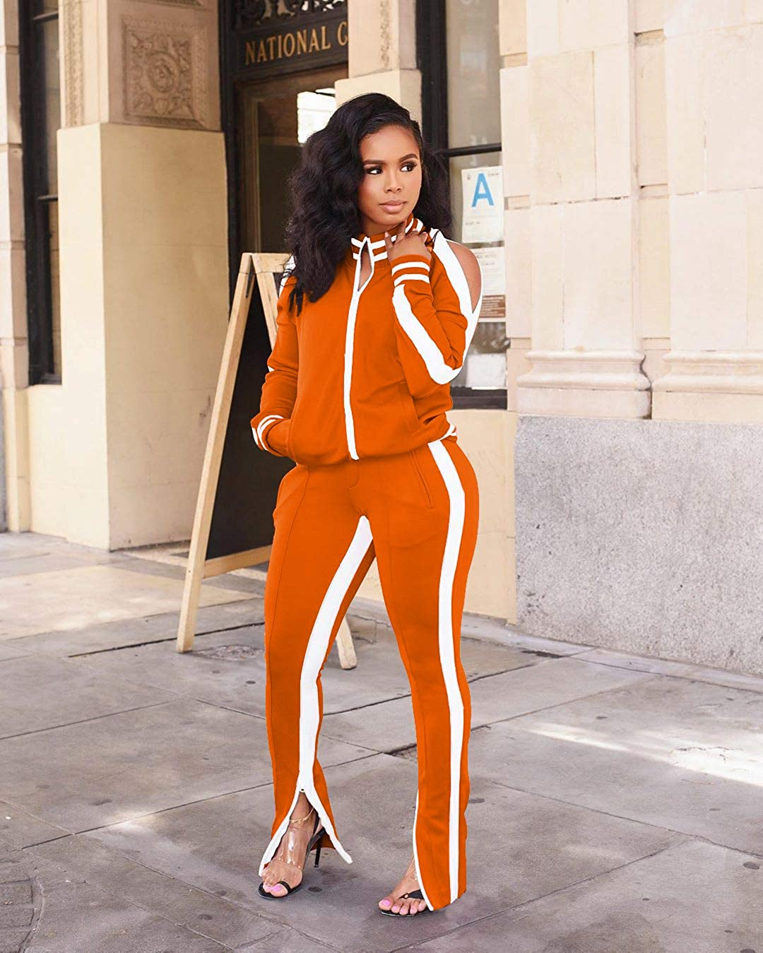 OLUOLIN Womens Two Piece Outfits Tracksuit Cold Shoulder Jackets Long Sweatpants Bodycon Jogging Suit