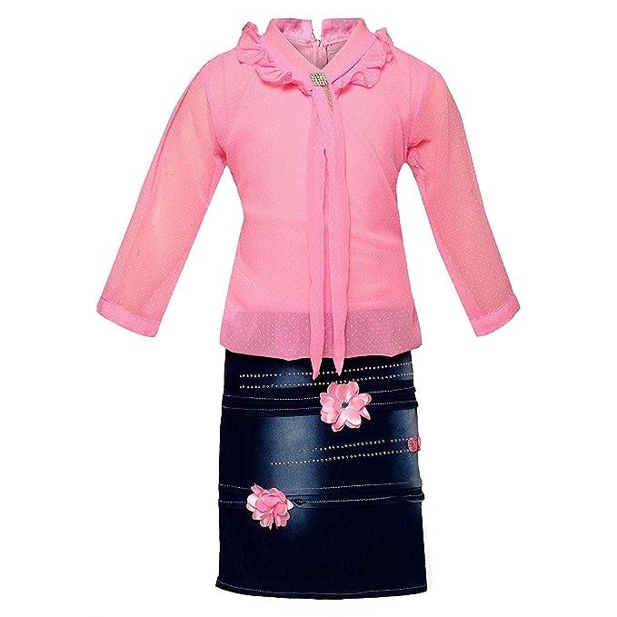 Arshia Fashions 3/4 Sleeves Party Wear Midi Dress Girls' Clothing Sets at amazon