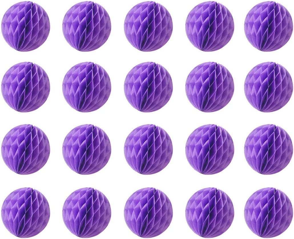 20pcs Honeycomb Flower Balls Party Honeycomb Balls Decoration Paper Flower Balls Tissue Paper Flower Ball Pom Poms Ball for Birthday Wedding Home Decor (6inch, Purple)
