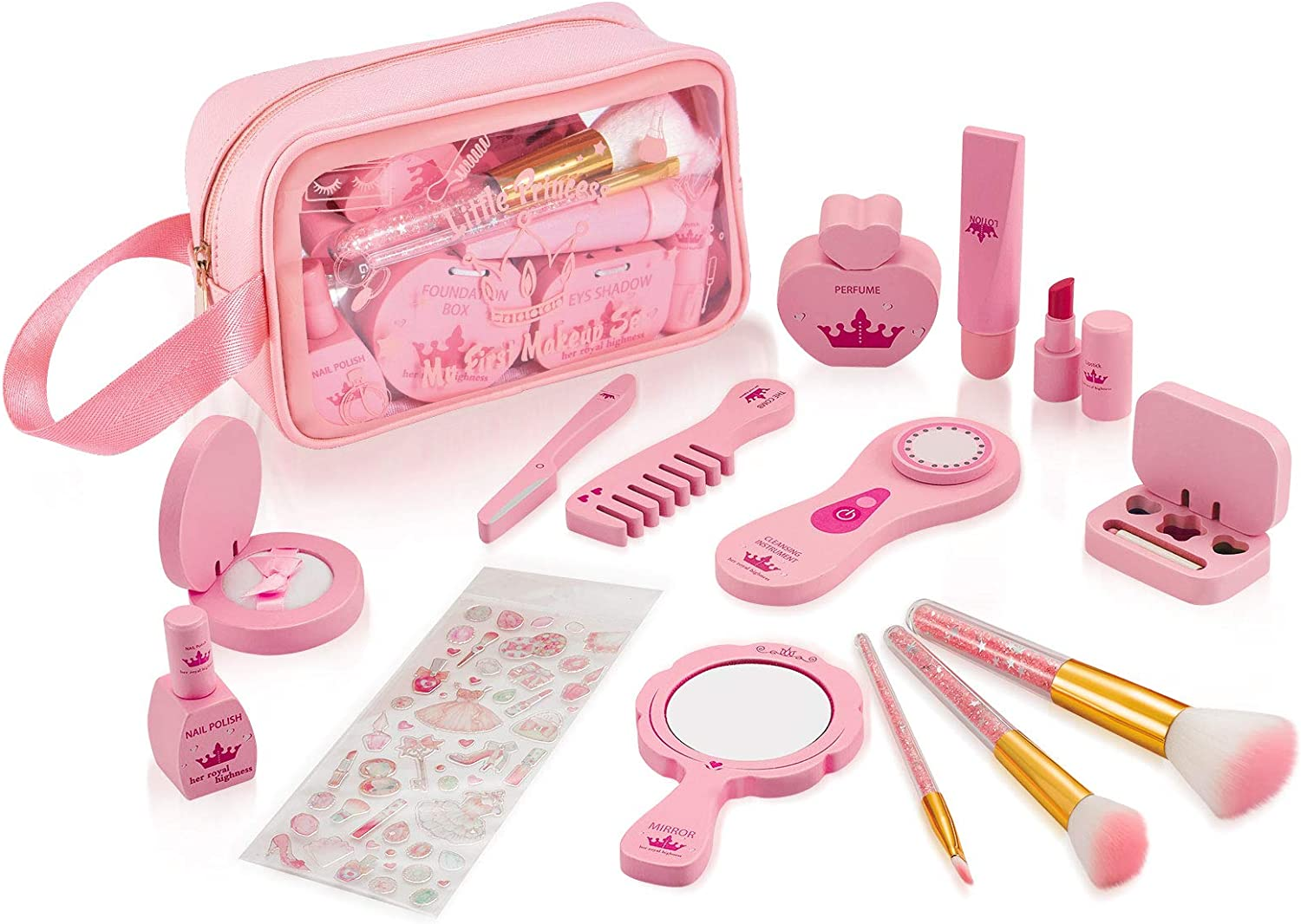 NextX First Pretend Girl Toys, Wooden Makeup Kit for Princess