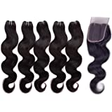 "JINREN (TM) Brazilian Virgin Hair with Closure Unprocessed Brazilian Body Wave Human Hair Weave 5 Bundles with Lace Closure 4x4 Lace Top Closure (10"" 10"" 12"" 14"" 16"" with 10""closure)"