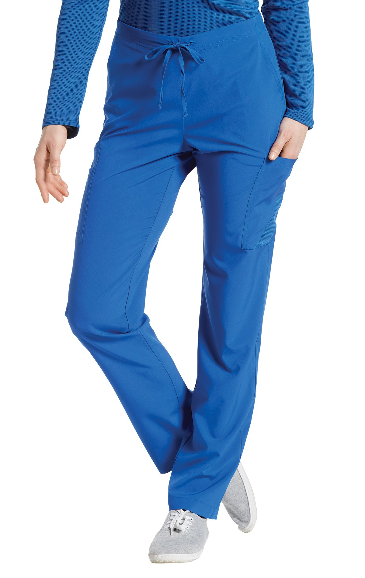 Fit by White Cross Women's 397 Drawstring/Back Elastic Waist Cargo Pant- Royal- Small