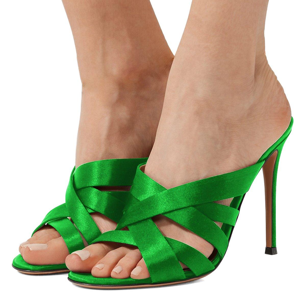 FSJ Women Strappy Satin Open Toe Sandals Stiletto High Heels Mules Slip On Shoes Size 4-15 US