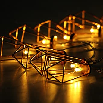 Geometrische Lichter,KINGCOO 3M 20LED Metall Diamant Lichterketten  Batteriebetriebene Lichterkette Rose Gold Rustikale Vintage Pendelleuchte