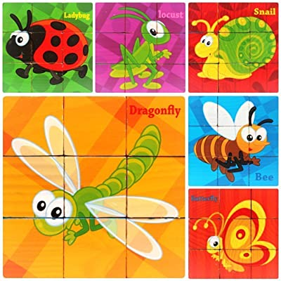 free shipping PROW 9 Pcs Wooden Cube Block Jigsaw Puzzles, Insect