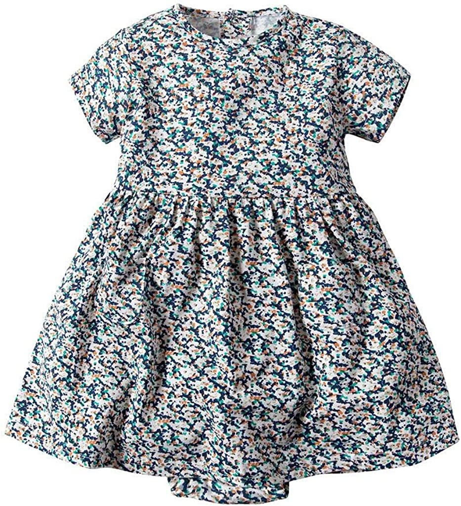 Toddler Kid Baby Girl Short Sleeve Floral Dress Princess Romper Dresses Clothes