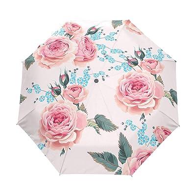 Xinxin roses Pattern Compact Windproof Travel Foldable Rain Umbrella Auto Open/Close