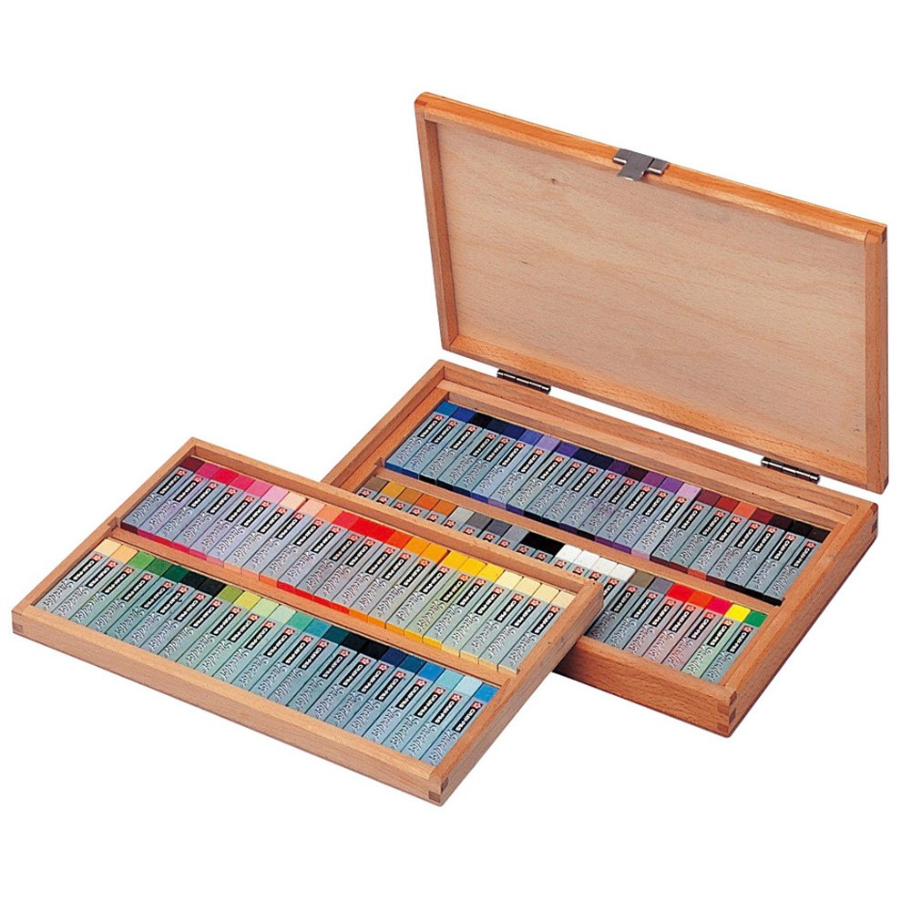 Cray-pas Specialist Premium, Artist Quality Oil Pastels, Square Stick, 88 Piece, Wood Box Set,