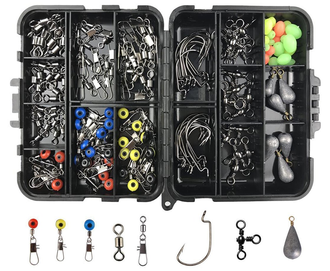 JSHANMEI 160pcs/box Fishing Accessories Kit, Including Jig Hooks, Bullet Bass Casting Sinker Weights, Different Fishing Swivels Snaps, Sinker Slides, Fishing Line Beads, Fishing Set with Tackle Box