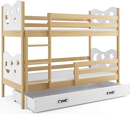 Blanc+Blanc Blanc Matelas et tiroir-Coffre la 2eme Couleur choisie Interbeds Lit superpos/é Miko 160x80 avec sommiers