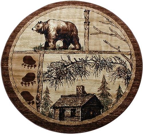 Lodge Cabin Round Area Rug Design 362 – 5 Feet 5 Inch X 5 Feet 5 Inch Round