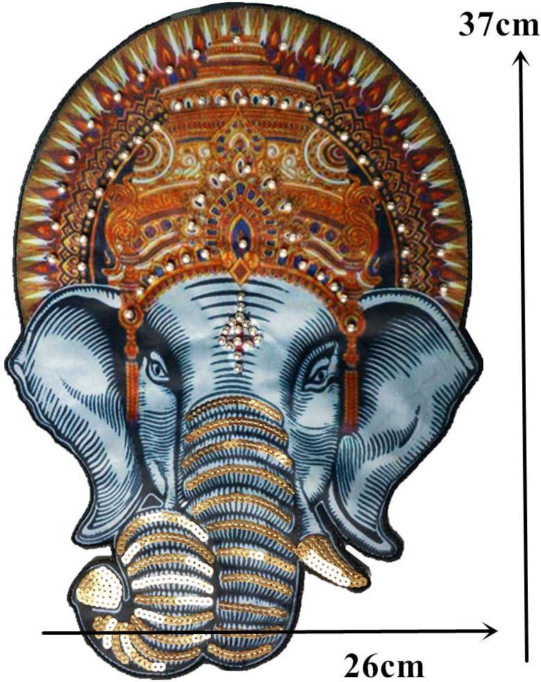 Grande Elephant Perles coudre sur patch badge fabriqu/és Sac Chapeau Jeans Tissu Applique Craft DIY