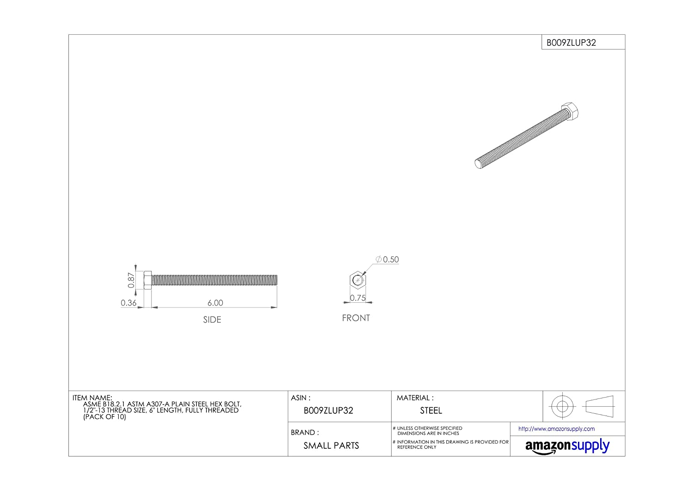 Pack of 50 Plain Finish Hex Head Meets ASME B18.2.1//ASTM A307 1//4-20 Threads Steel Hex Bolt Fully Threaded 1 1//2 Length External Hex Drive