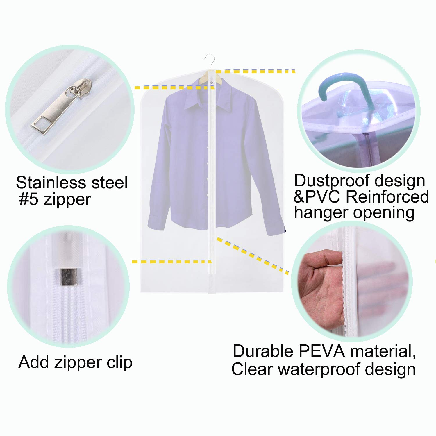 for Dance Costumes Gown Dress Clothes Storage 48//60 inch CM CUMIZON Garment Bags Translucent Hanging Garment Covers GC6-4048 24 x 40//48 Set of 6