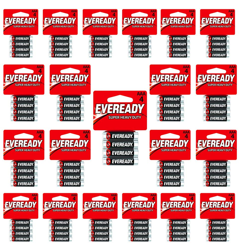 Eveready C2 & AAA Batteries Super Heavy Duty Carbon Zinc Carded (168-Pack of 4AAA= 672 Batteries)