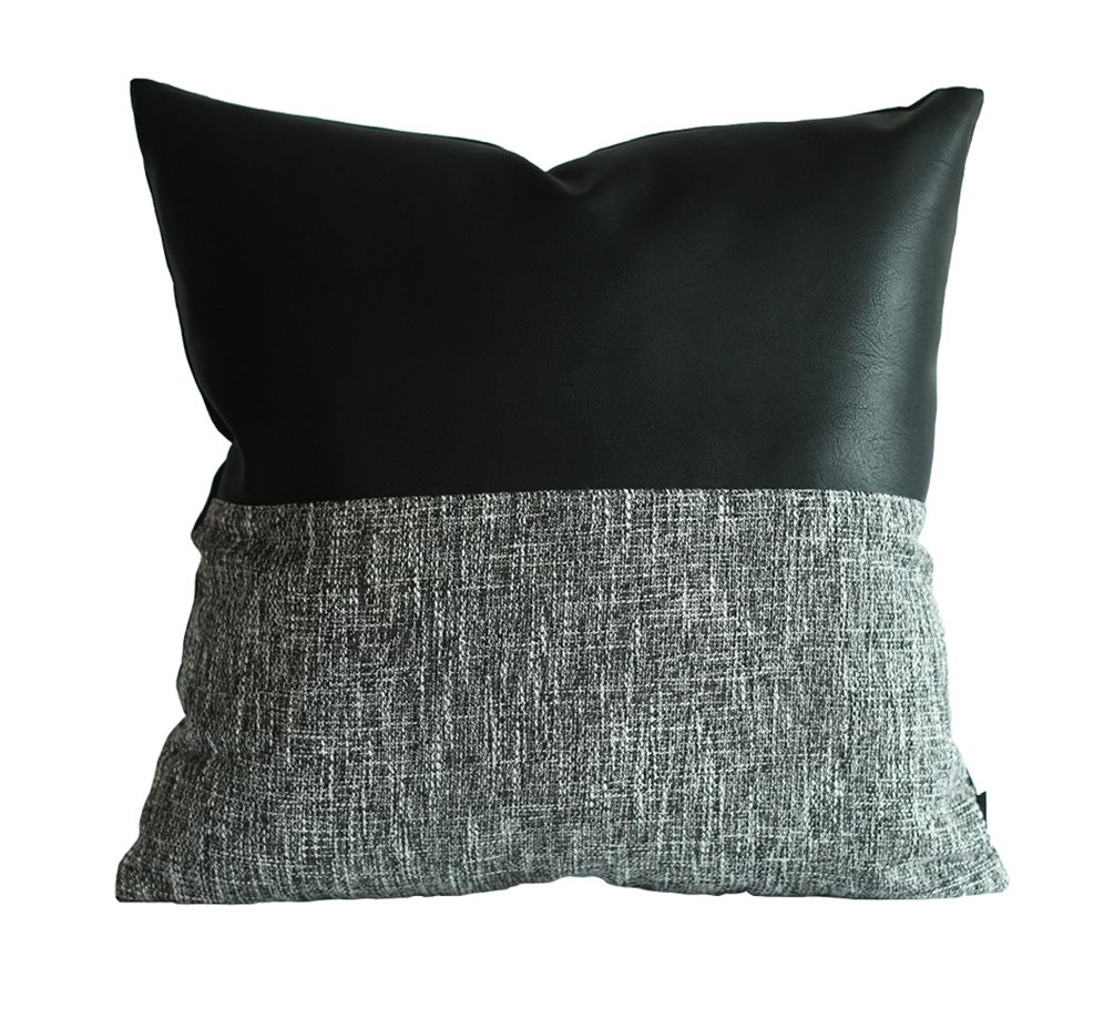 Kdays Halfblack Pillow Cover Designer Modern Throw Pillow Cover Decorative Faux Leather Pillow Cover Handmade Cushion Cover 18x18 Inches