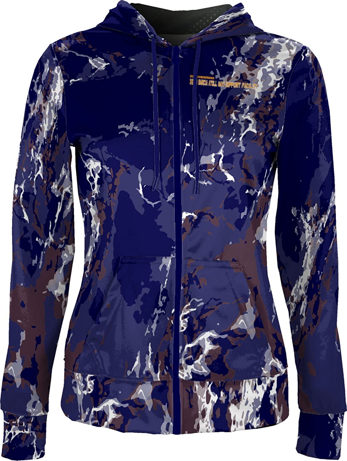 Women's Diego Garcia Atoll Navy Support Facility Military Marble Fullzip Hoodie