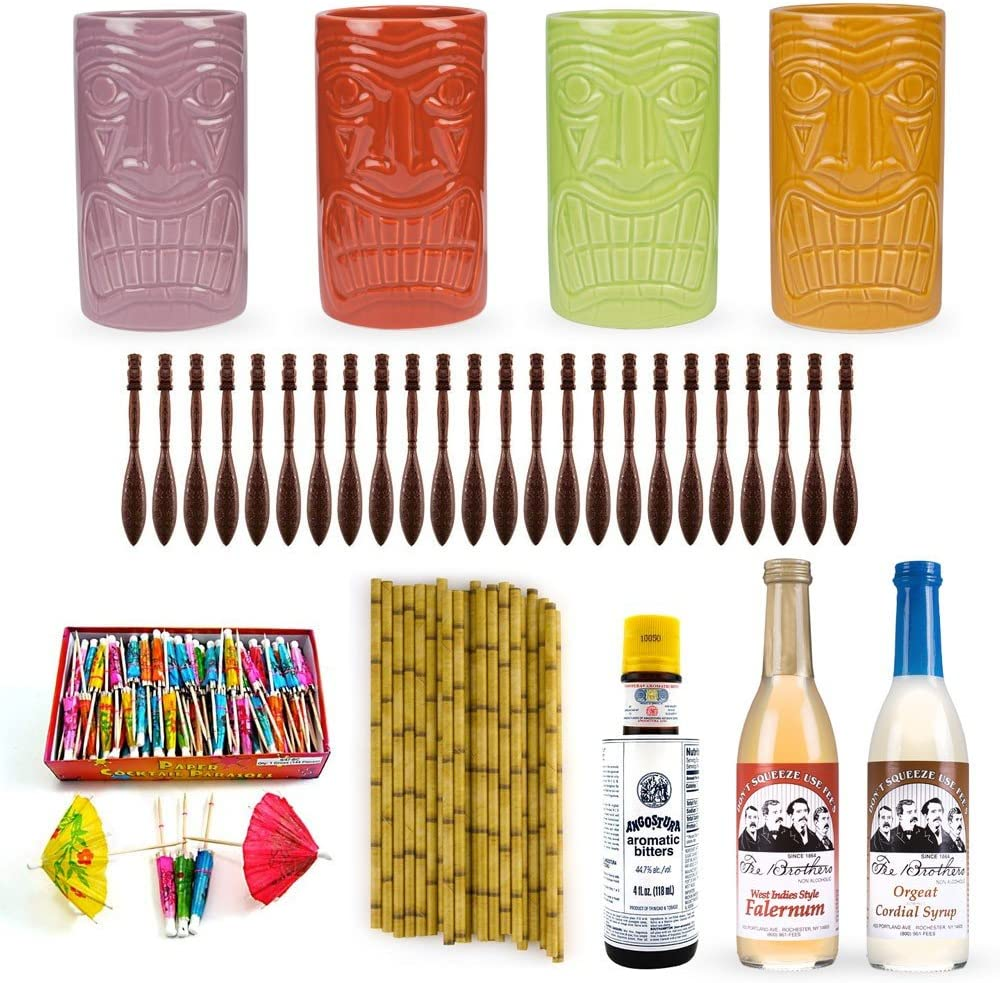 Tiki bebida accesorios Starter Kit – incluye tazas de cerámica ...