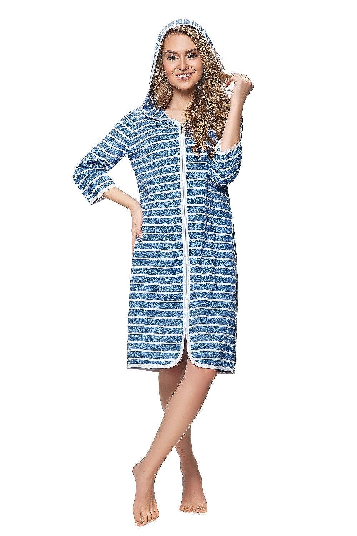 DOROTA Women's Striped Long Sleeve Bathrobe