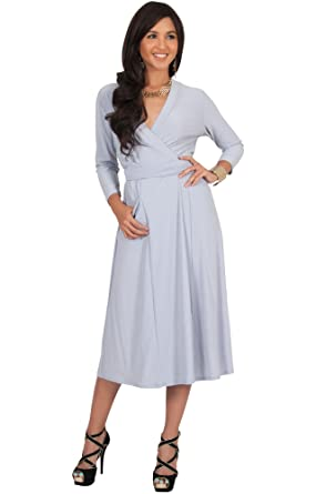 15bf5c68625 KOH KOH Petite Womens 3 4 Long Sleeve Modest Pockets Flowy Wrap Knee Length  Work