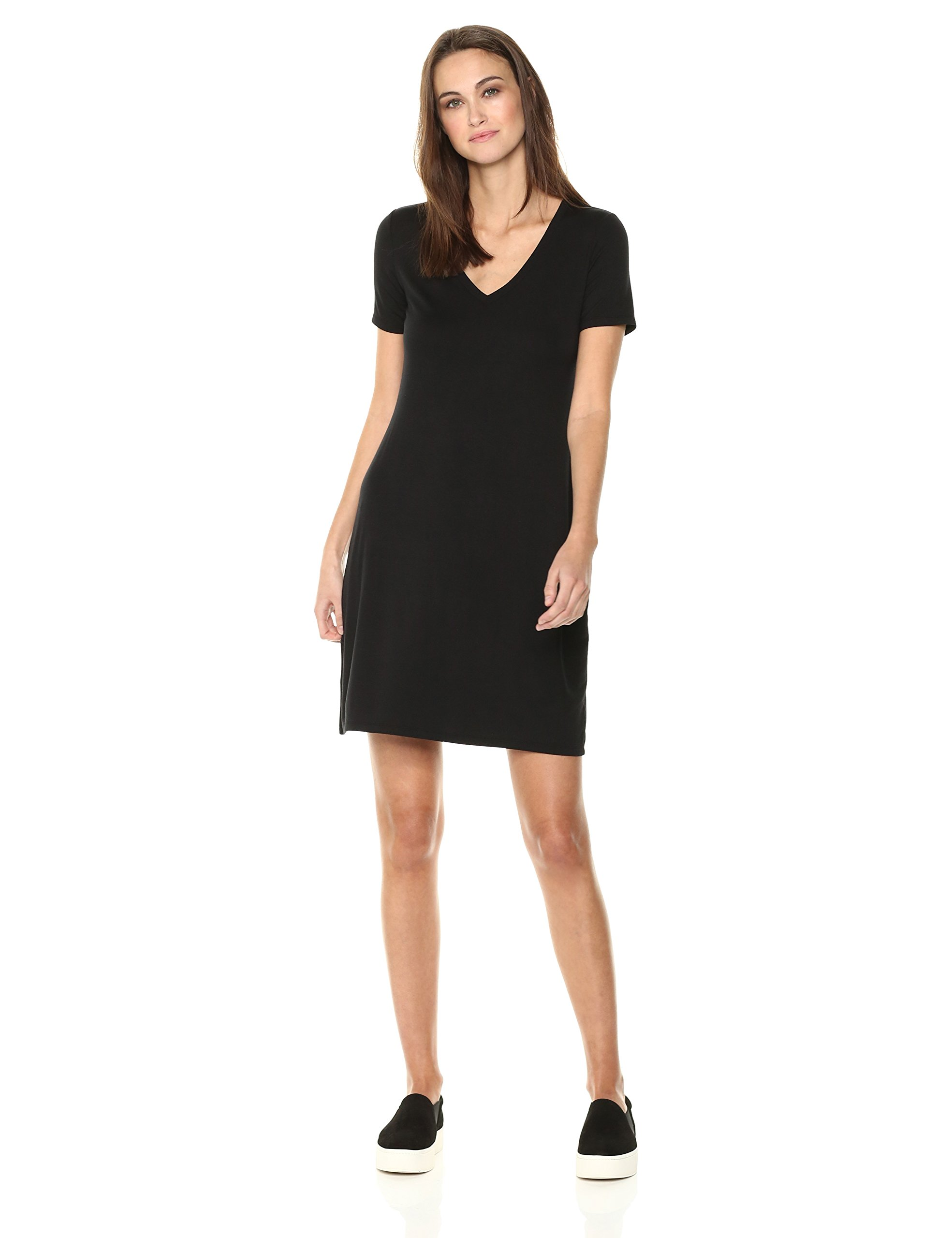 Daily Ritual Women's Jersey Short-Sleeve V-Neck T-Shirt Dress, Black, M