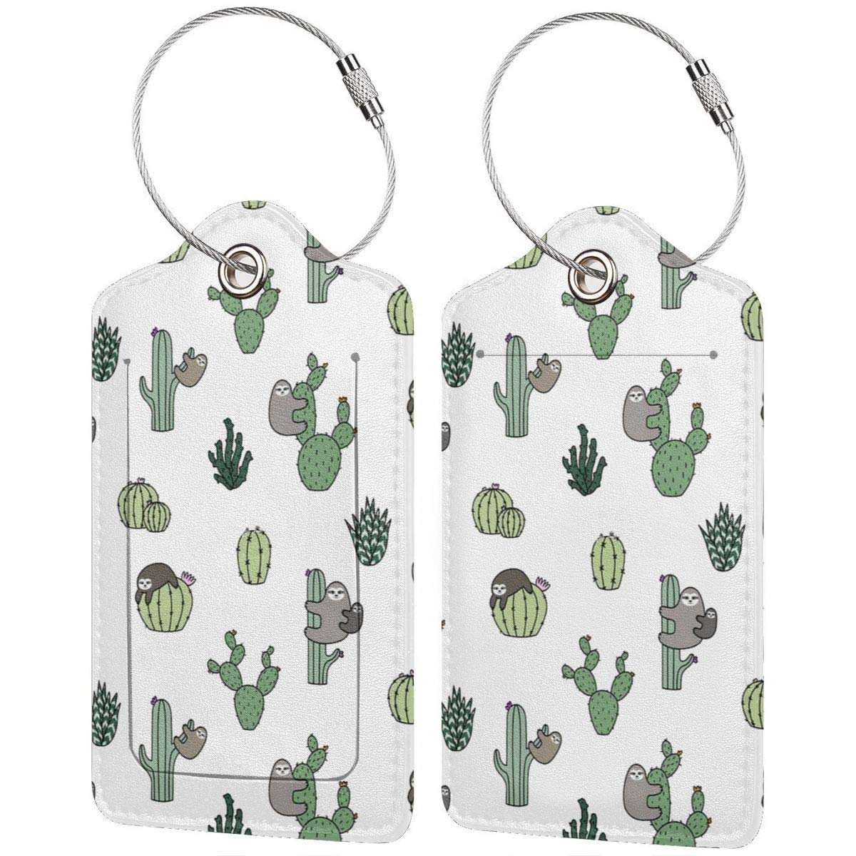 GoldK Cactus Sloth Leather Luggage Tags Baggage Bag Instrument Tag Travel Labels Accessories with Privacy Cover