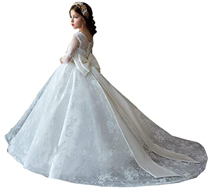 cd4b66efa Amazon.com: yuanzhuoshangp White Long Sleeves Ball Gown Flower Girl Dress  Lace Applique Dress for Wedding Party: Clothing