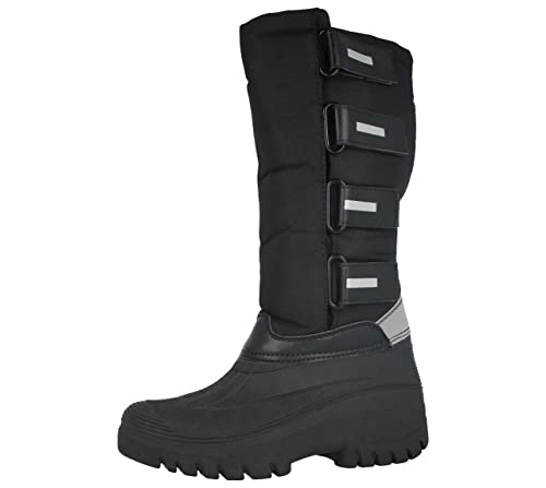 fb53935d3cc Groundwork Ladies LS95 Black Canvas Touch Close Long Warm Fleece Lined  Wellies Wellington Yard Stable Equestrian