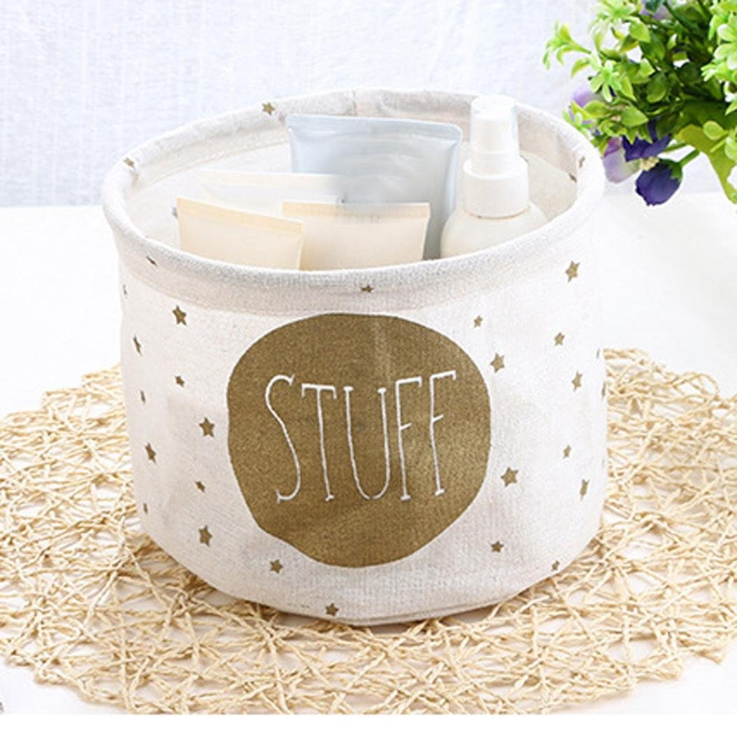 Storage Box ,IEason Clearance Sale! Cotton Linen Desktop Storage Basket Sundries Storage Box (B)