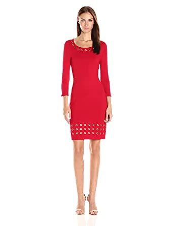 6b6d6647abc Calvin Klein Women s 3 4 Sleeve Sweater Dress with Grommet Detail at ...