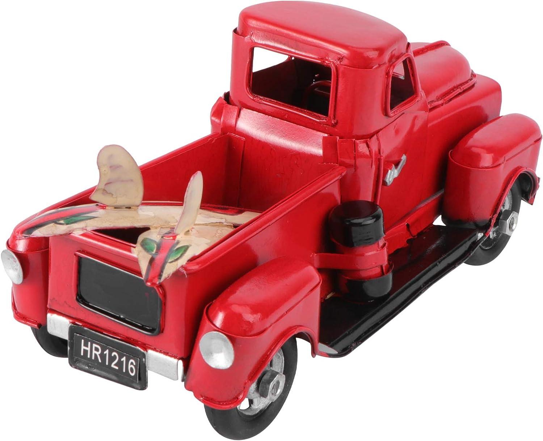 Kisangel Decoración de Camión Rojo de Navidad Arte de Hierro Vintage Camión de Metal Modelo de Coche Camioneta Vehículo de Colección Juguete de Hojalata Decoración de Mesa de Coche Viejo