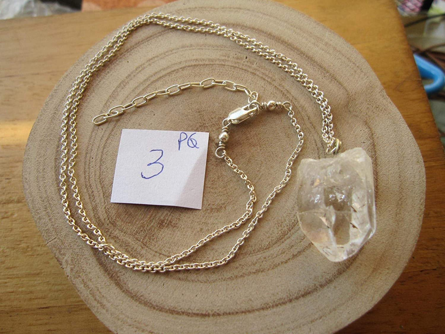 Crystal Quartz Station Checker Long Necklace Solid 925 Sterling Silver Jewelry,Birthday Gift Necklace For Wife,Hand crafted healing Jewelry