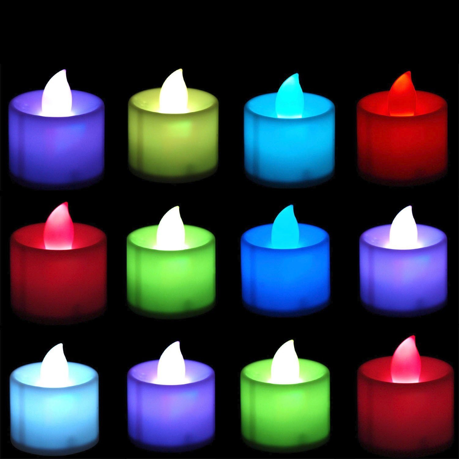 12 Flameless Floating waterproof LED tealight Candle ...