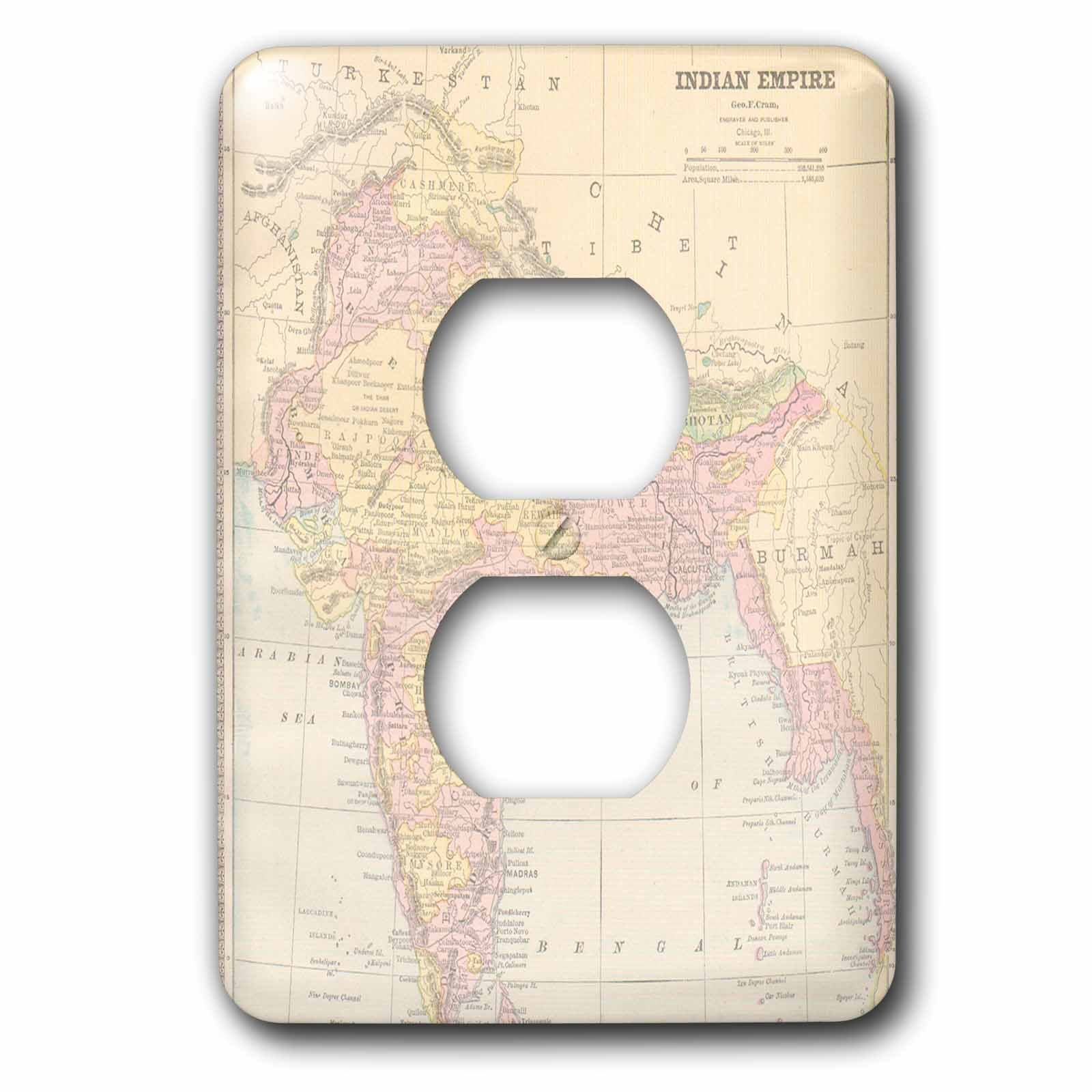 3dRose lsp_178871_6 Vintage India Map Outlet Cover