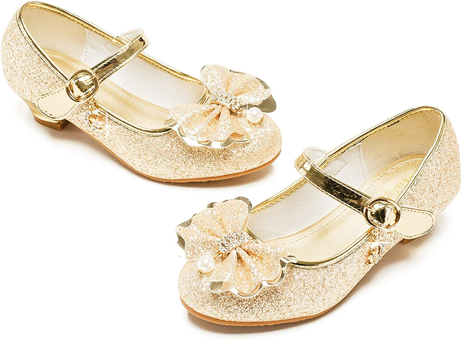 JTENGYAO Girls Shoes Sparkle Bow Sandals Mary Jane Bridesmaid Wedding Princess Party Dress Shoes