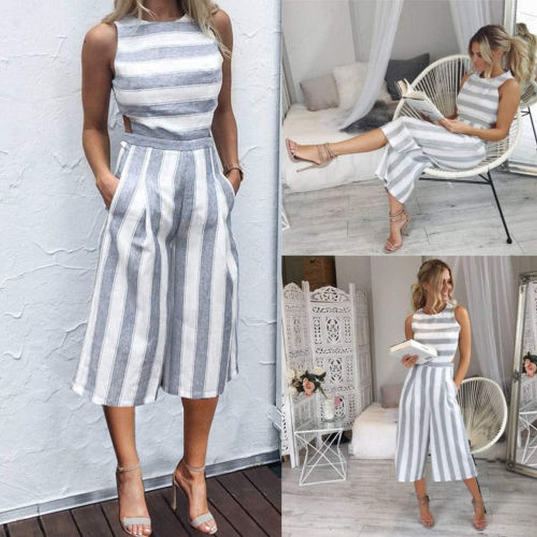 Kongsta Women Casual Summer Strap Romper Striped Jumpsuit Sleeveless Backless Playsuit