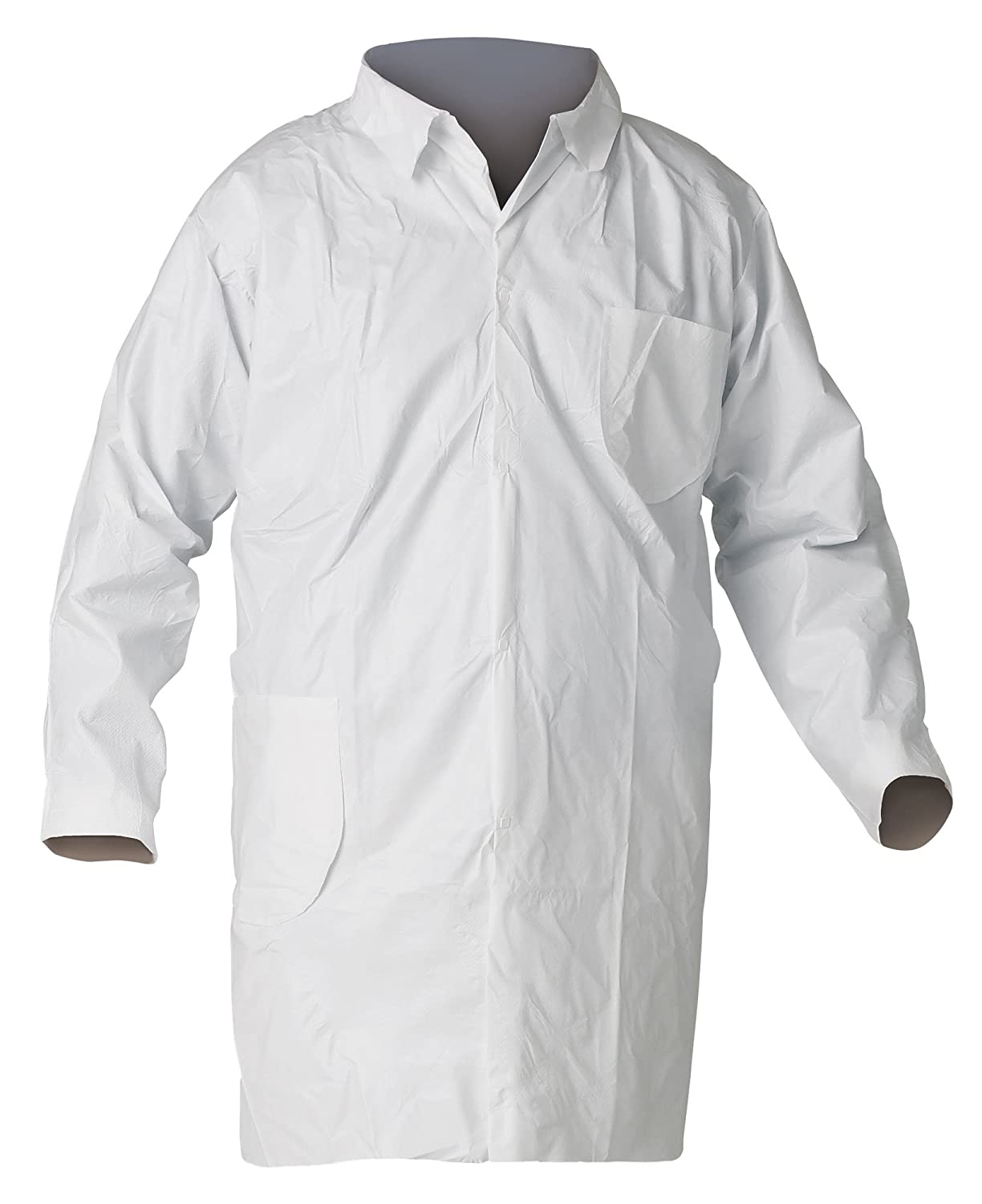 Kimberly-Clark KleenGuard A40 Microporous Film Laminate Liquid and Particle Protection Lab Coat with Chest and Hip Pocket, 3X-Large, White (Case: Industrial & Scientific